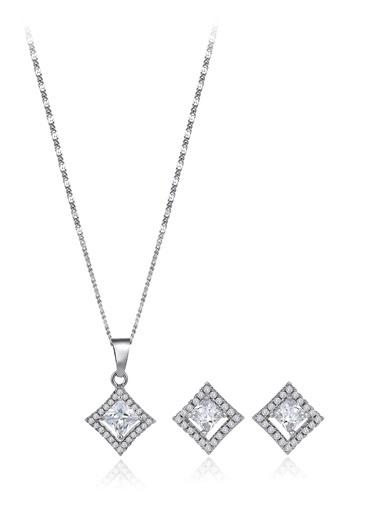 Tophills Diamond Co. 1,80 Ct Pırlanta Efekt  Altın  Entourage Princess Set Renkli